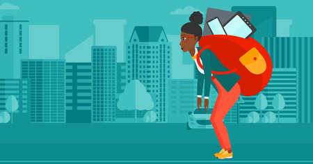 cary: An african-american woman walking with a big backpack full of different devices on a city background vector flat design illustration. Horizontal layout.