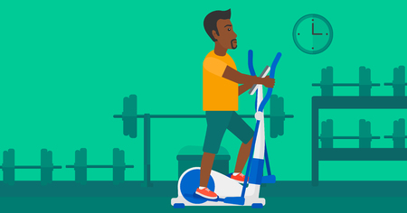 cardiovascular exercising: An african-american man exercising on a elliptical machine in the gym vector flat design illustration. Horizontal layout.