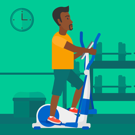 activity cartoon: An african-american man exercising on a elliptical machine in the gym vector flat design illustration. Square layout. Illustration