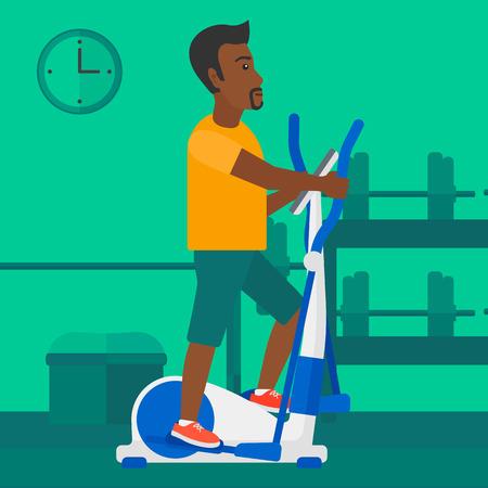 eliptica: Un hombre afroamericano ejercicio en una m�quina el�ptica en el gimnasio del vector dise�o plano ilustraci�n. Dise�o Square.