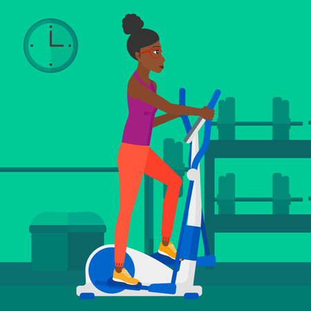 An african-american woman exercising on a elliptical machine in the gym vector flat design illustration. Square layout. Ilustração