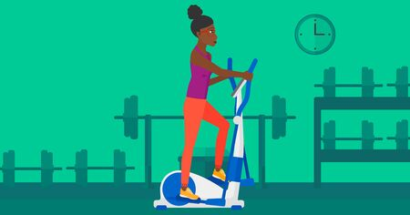 activity cartoon: An african-american woman exercising on a elliptical machine in the gym vector flat design illustration. Horizontal layout.