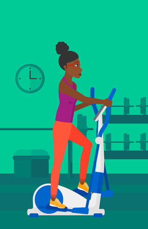 An african-american woman exercising on a elliptical machine in the gym vector flat design illustration. Vertical layout. Illustration