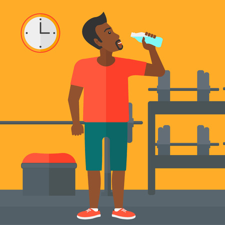 black train: An african-american man drinking water in the gym vector flat design illustration. Square layout.