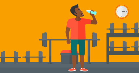 man drinking water: An african-american man drinking water in the gym vector flat design illustration. Horizontal layout.