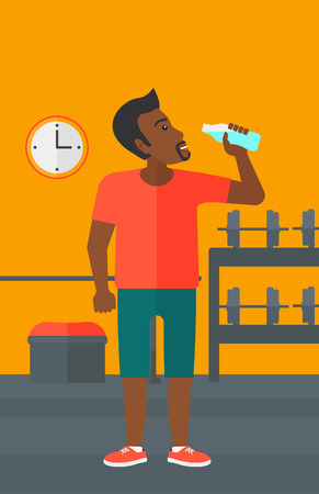 man drinking water: An african-american man drinking water in the gym vector flat design illustration. Vertical layout.