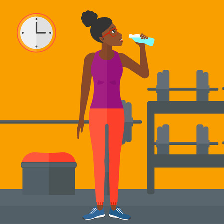 sportive: An african-american sportive woman drinking water in the gym vector flat design illustration. Square layout.