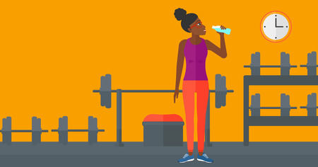 sportive: An african-american sportive woman drinking water in the gym vector flat design illustration. Horizontal layout.