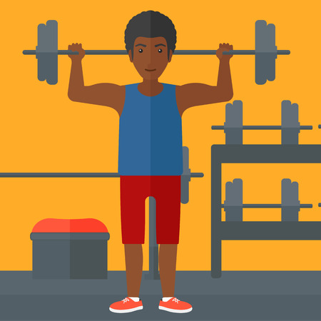 shapes cartoon: An african-american man lifting a barbell in the gym vector flat design illustration. Square layout. Illustration