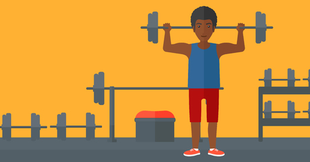 crossbar: An african-american man lifting a barbell in the gym vector flat design illustration. Horizotal layout.