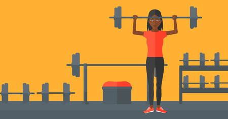 activity cartoon: An african-american woman lifting a barbell in the gym vector flat design illustration. Horizontal layout.