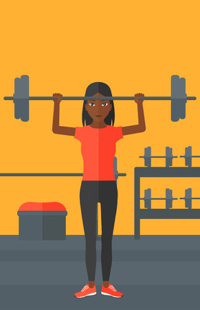 activity cartoon: An african-american woman lifting a barbell in the gym vector flat design illustration. Vertical layout.