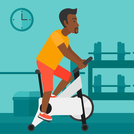 stationary bicycle: An african-american man exercising on stationary training bicycle in the gym vector flat design illustration. Square layout.
