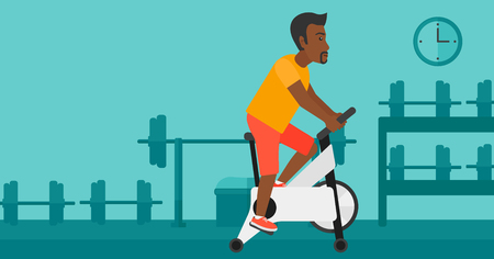 stationary bicycle: An african-american man exercising on stationary training bicycle in the gym vector flat design illustration. Horizontal layout.