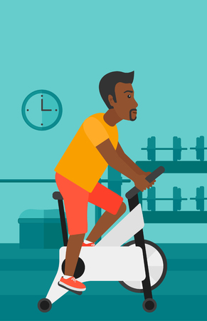 An african-american man exercising on stationary training bicycle in the gym vector flat design illustration. Vertical layout.