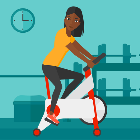 stationary bicycle: An african-american woman exercising on stationary training bicycle in the gym vector flat design illustration. Square layout.