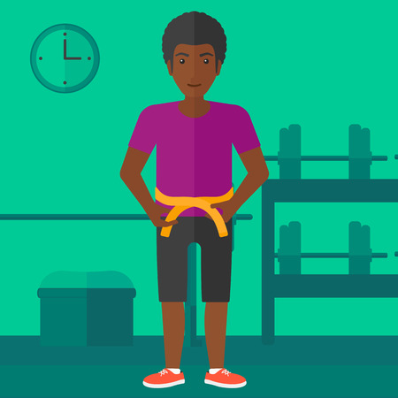 An african-american man measuring his waistline with a tape in the gym vector flat design illustration. Square layout.