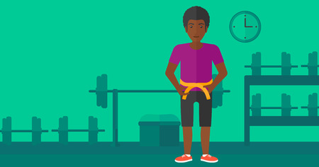 waistline: An african-american man measuring his waistline with a tape in the gym vector flat design illustration. Horizontal layout.