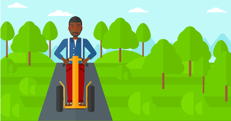 An african-american man riding on electric scooter in the park vector flat design illustration. Horizontal layout.