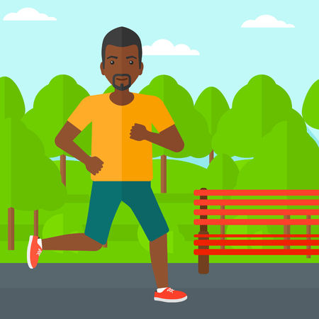 jogging in park: An african-american sportive man jogging in the park vector flat design illustration. Square layout.