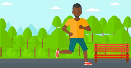 sportive: An african-american sportive man jogging in the park vector flat design illustration.  Horizontal layout.
