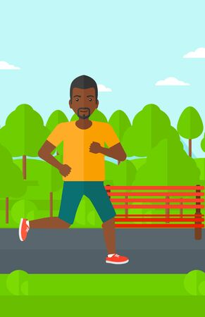 sportive: An african-american sportive man jogging in the park vector flat design illustration. Vertical layout. Illustration