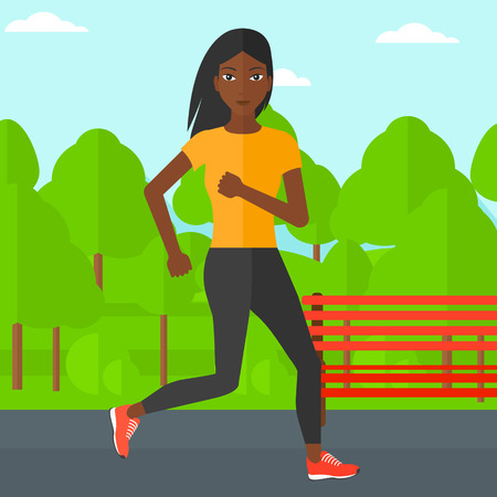 sportive: An african-american sportive woman jogging in the park vector flat design illustration. Square layout.