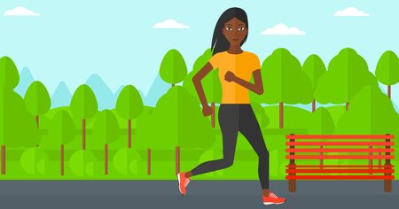 An african-american sportive woman jogging in the park vector flat design illustration. Horizontal layout. Illustration
