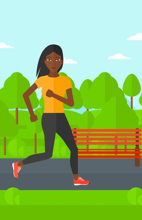 forest trees: An african-american sportive woman jogging in the park vector flat design illustration. Vertical layout.
