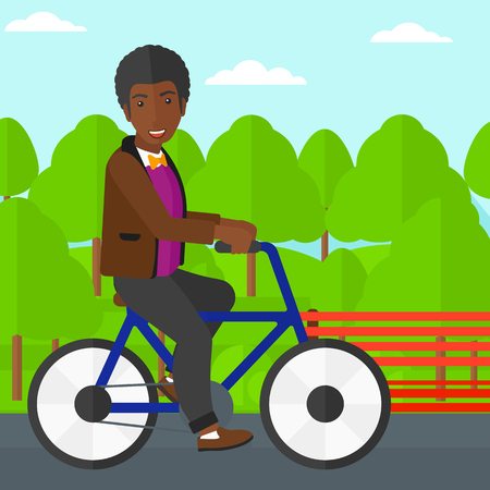 shapes cartoon: An african-american man riding a bicycle in the park vector flat design illustration. Square layout.