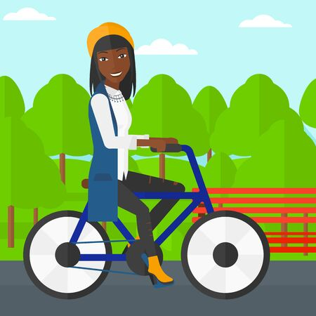 cartoon smile: An african-american woman riding a bicycle in the park vector flat design illustration. Square layout. Illustration