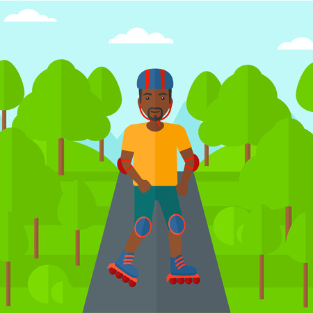 rollerskates: An african-american man on the roller-skates in the park vector flat design illustration. Square layout.