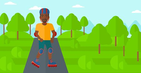 forest trees: An african-american man on the roller-skates in the park vector flat design illustration. Horizontal layout.