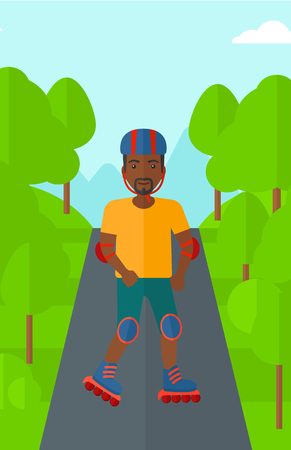 forest trees: An african-american man on the roller-skates in the park vector flat design illustration. Vertical layout.