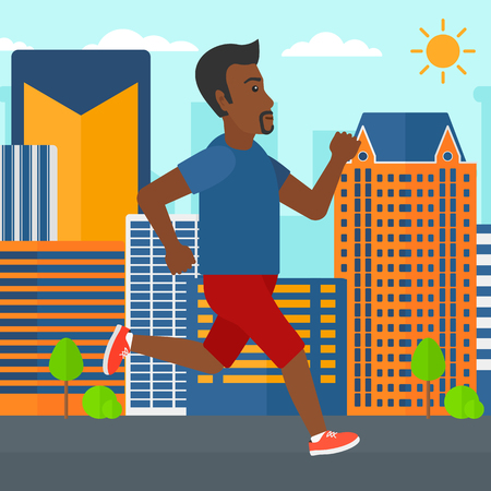sportive: An african-american sportive man jogging on a city background vector flat design illustration. Square layout.