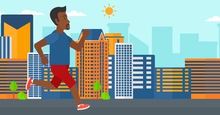 sportive: An african-american sportive man jogging on a city background vector flat design illustration. Horizontal layout. Illustration