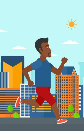 sportive: An african-american sportive man jogging on a city background vector flat design illustration. Vertical layout.