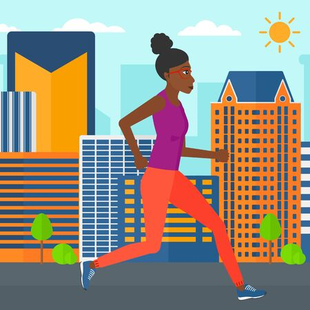 sportive: An african-american sportive woman jogging on a city background vector flat design illustration. Square layout. Illustration