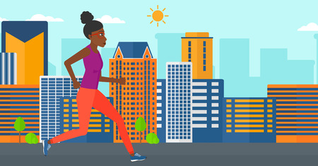 sportive: An african-american sportive woman jogging on a city background vector flat design illustration. Horizontal layout. Illustration