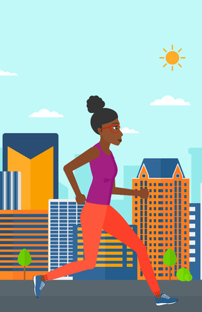 sportive: An african-american sportive woman jogging on a city background vector flat design illustration. Vertical layout. Illustration