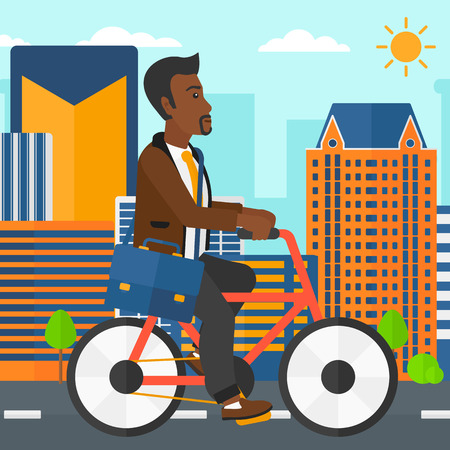 cartoon business: An african-american man with a briefcase cycling to work on city background vector flat design illustration. Square layout.