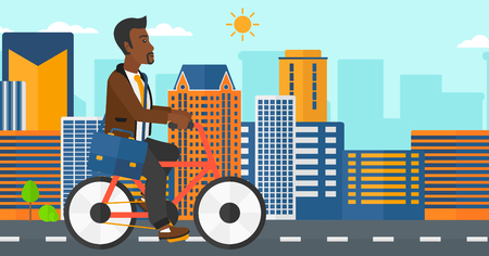 road cycling: An african-american man with a briefcase cycling to work on city background vector flat design illustration. Horizontal layout.
