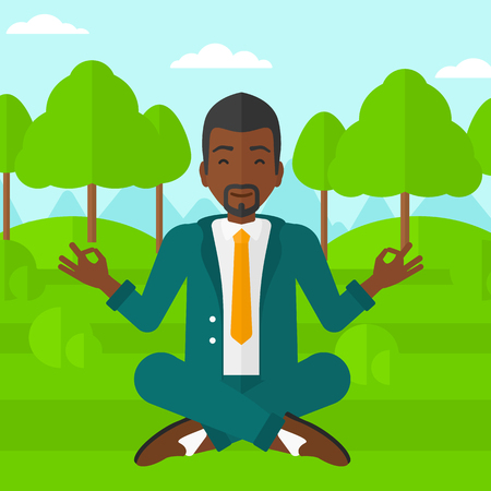 man meditating: An african-american businessman meditating in lotus pose in the park vector flat design illustration. Square layout.