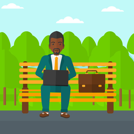 An african-american man sitting in the park on a bench and working on a laptop vector flat design illustration. Square layout.