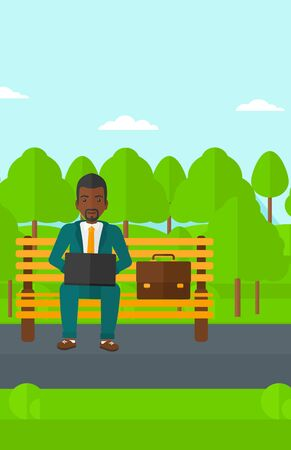 An african-american man sitting in the park on a bench and working on a laptop vector flat design illustration. Vertical layout.