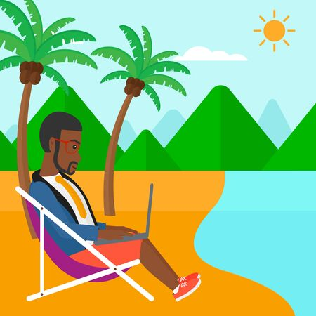 chaise lounge: An african-american businessman sitting on the beach in chaise lounge and working on a laptop vector flat design illustration. Square layout. Illustration