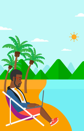 laptop outside: An african-american businessman sitting on the beach in chaise lounge and working on a laptop vector flat design illustration. Vertiacl layout. Illustration
