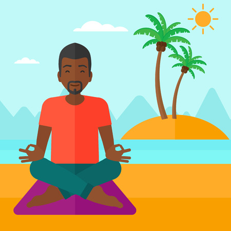 elasticity: An african-american man meditating in lotus pose on the beach vector flat design illustration. Square layout.