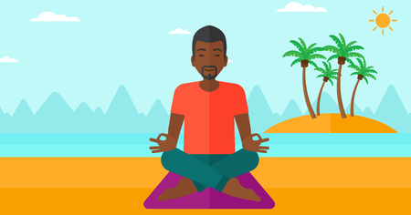 concentrating: An african-american man meditating in lotus pose on the beach vector flat design illustration. Horizontal layout.