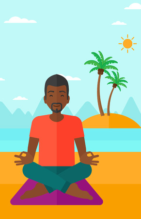 elasticity: An african-american man meditating in lotus pose on the beach vector flat design illustration. Vertical layout.